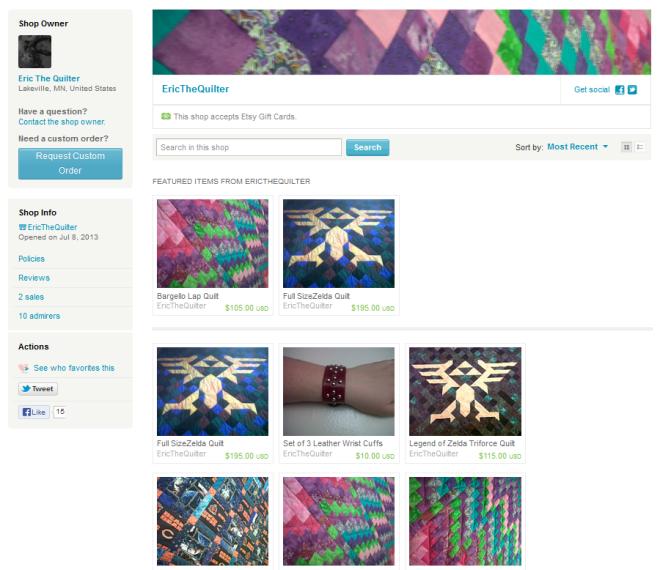 etsy shop page